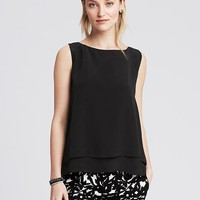 Banana Republic Womens Monogram Tiered Sleeveless Blouse