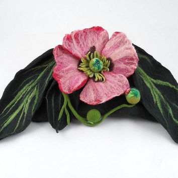 Felted Clutch OPIUM Bag II(Papaver somniferum) POISONS  poison purse handbag felt Nuno felt green jade poppy fairy floral fantasy boho