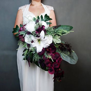"""Wedding BOUQUET large teardrop bouquet purple /& ivory 14 x 22 /"""" with crystals."""