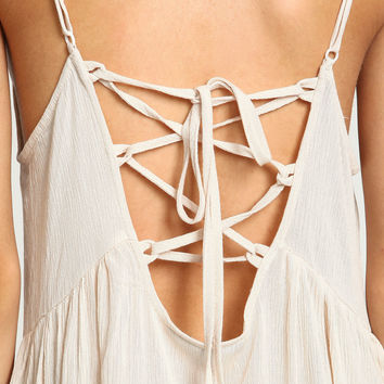 SAND LACE UP TIERED CREPE DRESS
