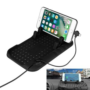 Universal Silicon Car Phone Holder Non-slip Console Charging Mat Stand Magnetic Charge for iPhone SE 5S 6S Plus Android Samsung S7 GPS