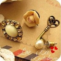 New Arrival design Unique 4-piece Key&Pearl&Flower Asymmetrical Stud Earring