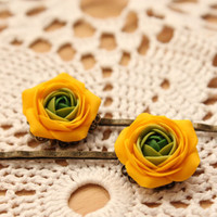 Yellow and Green flowers Ranunculus hair clip  free by eteniren