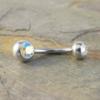 Simple Silver and Aurora Borallis Belly Button Ring Jewelry
