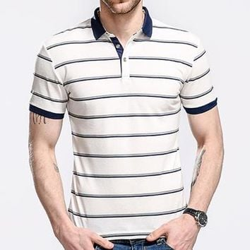 Classic Mens Polo Shirts 3XL Summer Striped Men's Polos Slim Fit Thin Camisas Polo Male Tops Breathable