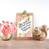 Jane Austen, Emma, Jane Austen Quote, Floral Art Print Quotes, Floral Rose Wall Art, Book Quotes Art, Happiness Wall Quote, Digital