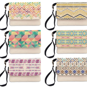 Colorful Aztec Pattern Beige Printed Canvas Wallet Clutch Purse WAS_12