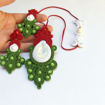 Handmade soutache set. Soutache jewelry with national color. Tricolor jewelry. Flashy jewelry. Red, white, green handmade jewelry.