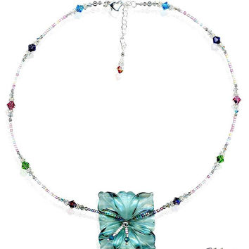 Sea Foam Crystal Hibiscus Flower Necklace