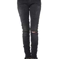 Black denim skinny jean knee rip