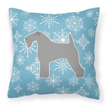 Winter Snowflake Kerry Blue Terrier Fabric Decorative Pillow BB3492PW1414