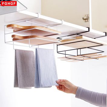 Iron Multifunctional Pot Lid Shelf Holder Storage Tool for Kitchen Organizer Towel Rack  Cutting Board Storage Kitchen Accessory