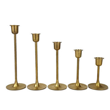 Brass Graduated Candlesticks Set of 5 Tulip Base Vintage Stair Step Candle Holder Lot Gold Mid Century Style Wedding Table Centerpiece Decor