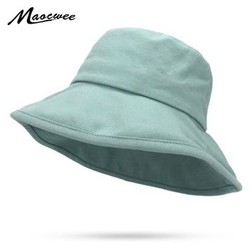Casual Solid Fisherman Cap for Girl Boy Green White Black Bucket Hat With Flat Top Outdoor Hunting Fishing Hats Summer Sun Hat
