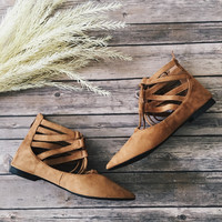 Tempo Lace Up Flats (Tan)