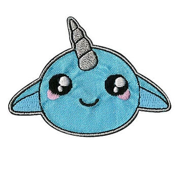 Blue Narwhal Iron-On Patch