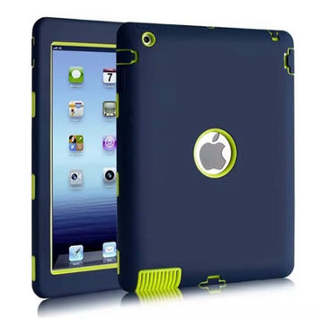 2016 new 3D case For Apple iPad 2 iPad 3 iPad 4 Retina Kids Safe Armor Shockproof Heavy Duty Silicone Hard Case Cover