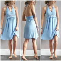 A Crochet Halter Dress in Periwinkle