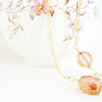 Blush Pink Beaded Strand Necklace Golden Roses Long Glass Bead Necklace Gold Necklace Rose Pink Czech Glass Necklace Pink Beaded Necklace