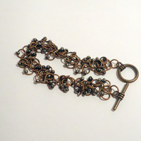 Copper shaggy chainmaille bracelet with black beads