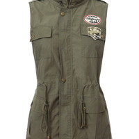 LE3NO Womens Lightweight Sleeveless Military Anorak Vest (CLEARANCE)