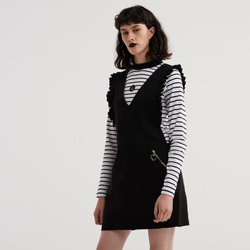 Lazy Oaf Deep V Frilly Pinny Dress