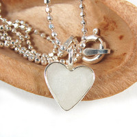 Small Heart necklace -  pearl white, silver , Valentines day for girls, teen girls & women