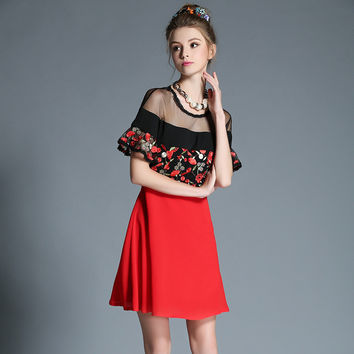 Women See Through Mesh Pieced Red Black Off Shoulder Dress Flower Embroidery Fit Flare Party Dress l-5xl