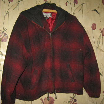 Vintage 80s Bonjour Hunting Coat / red & black plaid wool hooded jacket sz large