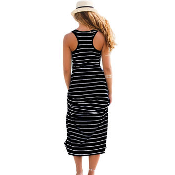 GZDL Women Long Tank Top Dress Sundress Plus Size Maxi Boho Striped Summer Beach Sexy Lady Sleeveless Vest Dress Casual CL2115