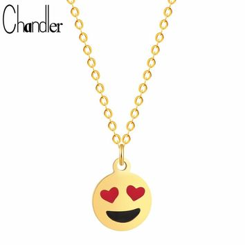 Chandler Brand Adore Face Cartoon Emoji Expression Love Eye Necklace & Pendant Statement Fine Jewelry Trendy Heart Lover Gifts