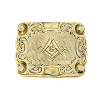 Hand Chased Repousse Gold Shell Masonic Brooch