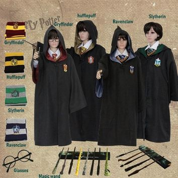 Harri Potter Robe Cape Cloak Gryffindor Slytherin Ravenclaw Hufflepuff Robe Cosplay Costumes Adult Children's Day Gift