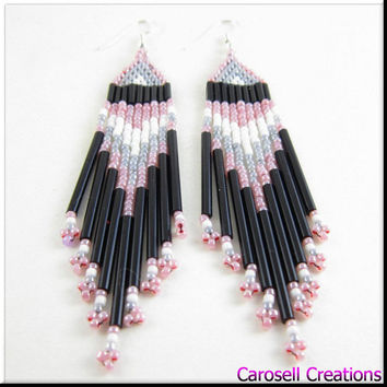Native American Indian Style Beadwork Seed Bead Earrings Pink, Black, Gray and White