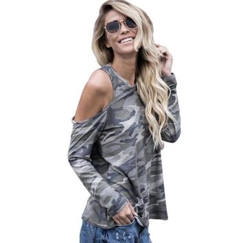 T Shirt Feminina Camisetas Mujer Sexy Women Off Shoulder Camouflage Army Long Sleeve Tops T-Shirt Summer Casual Womens Tee