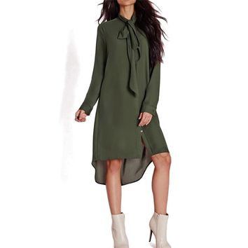 2017 New Style Casual Loose Women Bow Tie Shirts Dress Autumn Female Long Sleeve Solid Color Dresses Vestidos Plus Size GV436
