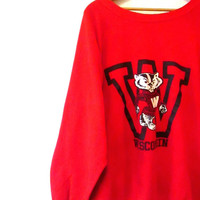 "Vintage 1980s Wisconsin Badgers Bucky Badger ""W"" Beat Up Sweatshirt Sz XL"