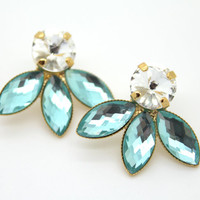 Aqua white stud Rhinestone earrings -14kk plated gold post earrings real swarovski rhinestones.