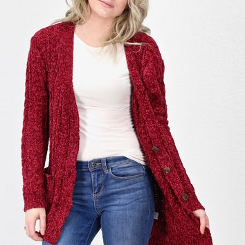 Chunky Chenille Knit Cardigan w/ Buttons {Deep Red}
