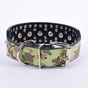 Comouflage Leather Spiked Studded Dog Collar for Pitbull Terrier