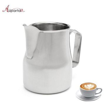 CREYLD1 Asipartan Stainless Steel Milk Frothing Jug Espresso Coffee Pitcher Cup 350/500/750ml Cappuccino Pull Flower Cup Jugs Cafe Tools
