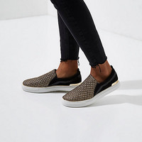 Black glitter slip on plimsolls - Plimsolls & Sneakers - Shoes & Boots - women