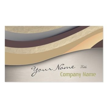 Modern Chic Silver Gold Wave Stripes Makeup Artist Business Card