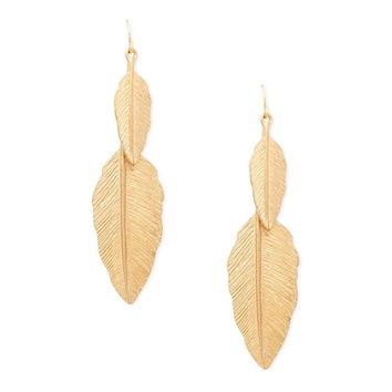 Etched Feather Drop Earrings | Forever 21 - 1000146051