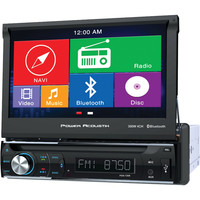 """Power Acoustik 7"""" Single-din In-dash Gps Navigation Motorized Lcd Touchscreen Dvd Receiver With Bluetooth"""