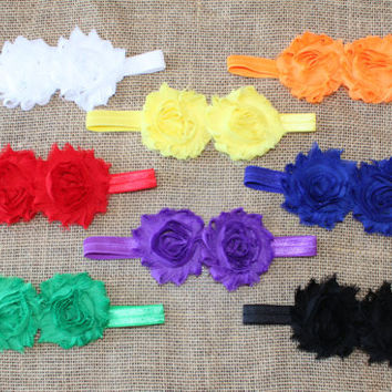 Headband set - shower gift - newborn baby girl - bright colors - shabby chiffon double flower - red yellow orange green blue black white