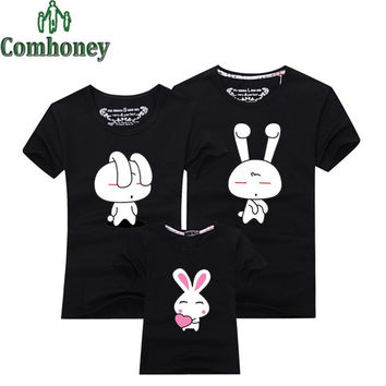 Family Matching Outfits Look Mom and Daughter Mother Father Son Clothes Cartoon Bunny Rabbit Tee Tops Summer Baby Kids T-shirt
