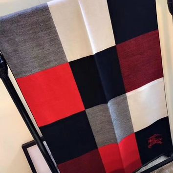 Burberry Women Fashion Tartan Cashmere Warm Cape Scarf Scarves-1