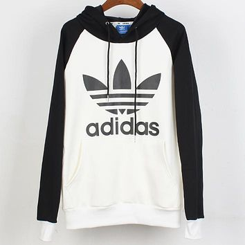 ADIDAS Clover classic logo raglan sleeve stitching color plus velvet hoodie sweater Black