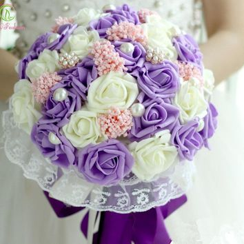 Marriage Holding Flowers Wedding Bouquets Purple Pink Romantic Rose Flower With Pearls Bridal Bouquet Gift Corsage